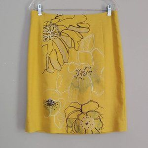 Nic + Zoe Embroidered Floral Yellow Skirt